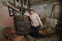 Winemaker with grapes basket Stock Photos