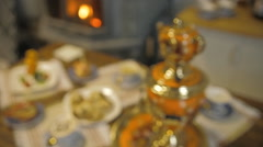 Table with sweets. Samovar with tea and pies Stock Footage