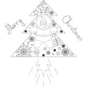 Postcard set of Christmas things like Santa, stars, fir trees and snowflakes Stock Illustration