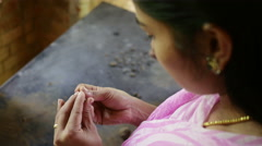 Indian Girl making Handmade Clay Jewellery Stock Footage
