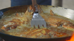 Fish Fry Turning Stock Footage