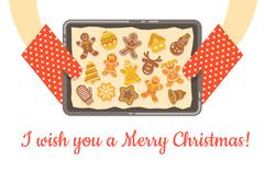 Christmas gingerbread cookies just baked on tray vector background - stock illustration