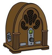 Vintage tube radio - stock illustration