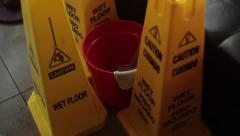 Caution Cones - Wet Floor, Bucket with Dripping Water Stock Footage