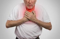 Sick old man, elderly guy, having severe infection, chest pain Stock Photos