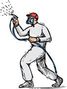 Spray Painter Painting Side Drawing - stock illustration