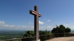 Modern cross overlooking the valley of Cibao in Santo Cerro, Dominican Republic. Stock Footage