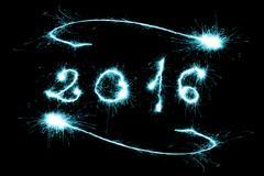 blue 2016 written with Sparkle firework - stock photo
