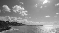 Seascape in time-lapse of the bay and the shore in a summer sunny day Stock Footage