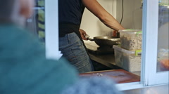 The kitchen on wheels. Buyer be cooking Stock Footage