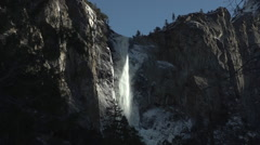 Yosemite Water Fall winter ice and snow Stock Footage