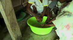 ADEISO SCHOOL CHILDREN WASH HANDS Stock Footage