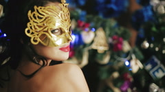 Beautiful sexy lady in the mask in the New Year's Eve Stock Footage