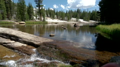 Tuolumne River cascade on Summer day Stock Footage