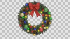 Christmas Holiday Wreath With Blinking Lights Bow & DECOR ALPHA LOOP - stock footage