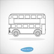 Retro city double decker London bus line icon Stock Illustration