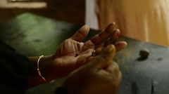 Indian Handmade Clay Jewellery Hands in Slow Motion Stock Footage