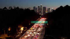 Time Lapse of Traffic on The 110 Freeway in Los Angeles California At Dusk Stock Footage