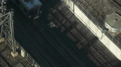 Overhead Shot Union Pearson Express Train In the Morning. Stock Footage