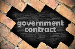 Stock Photo of Hole in the brick wall with word government contract
