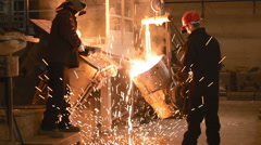 VOTKINSK RUSSIA - MAY 2014: Hard work in the industrial foundry too hot Stock Footage