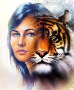 painting of a bright mighty tiger head on ornamental background and mystic woman - stock illustration