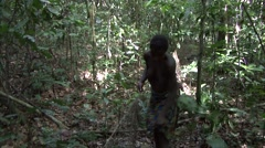 Baka people nets hunting. Stock Footage
