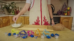Christmas cookies, rolling dough with a rolling pin - stock footage