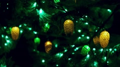 Christmas tree with cones, night, - stock footage