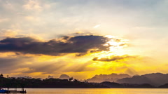 Timelapse Heavenly Sunset. Cheow Lan Lake or Rajjaprabha Dam Reservoir, Thailand Stock Footage