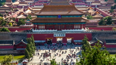 Different view to the back entrance of the Palace Museum, Beijing, China Stock Footage