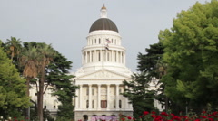 California State Capitol Building Sacramento Zoom Out Stock Footage