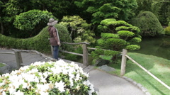 Woman Japanese Garden Painting Style Move Stock Footage