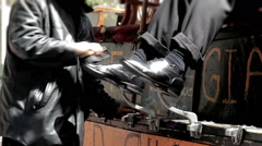 Shoe Shine CU Stock Footage