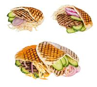 Fast food meat with vegetables in pita Stock Photos