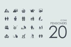 Set of pensioners icons - stock illustration