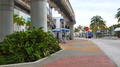 Downtown Miami Metromover station Stock Footage