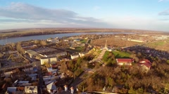 Aerial view of Tulcea city and the monument of independence Stock Footage