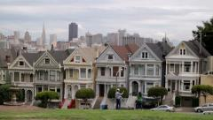 Six Sisters Victorian Houses San Francisco Pandown Stock Footage