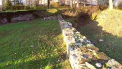 Ancient ruins of the roman fortress Aegyssus, aerial view Stock Footage
