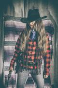 Cowgirl Gunslinger Standing Stock Photos