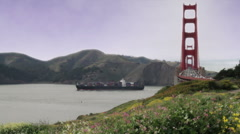Cargo Ship at Golden Gate Stock Footage