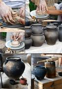 The hands of a potter help the child make a pitcher on a pottery wheel Stock Photos