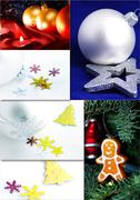 Collage of fine Christmas table decorations Stock Photos