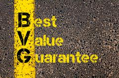 Advertising Business Acronym BVG Best Value Guarantee - stock photo