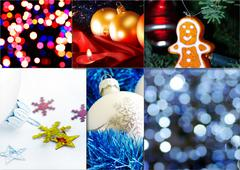 Collage of fine Christmas table decorations - stock photo