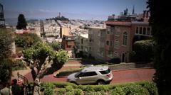 Curves on Lombard Street San Francisco Stock Footage