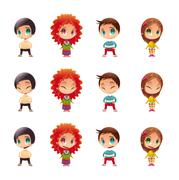 Characters with normal - blinked eyes - open mouth positions.. - stock illustration