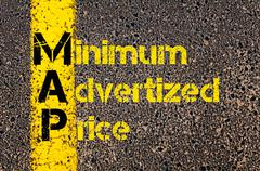 Advertising Business Acronym MAP Minimum Advertized Price - stock photo