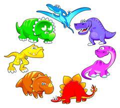 Stock Illustration of Dinosaurs rainbow.